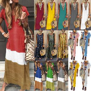 Women-Boho-Long-Shirt-Vest-Dress-Summer-Casual-Loose-Kaftan-Maxi-Dress-Sundress