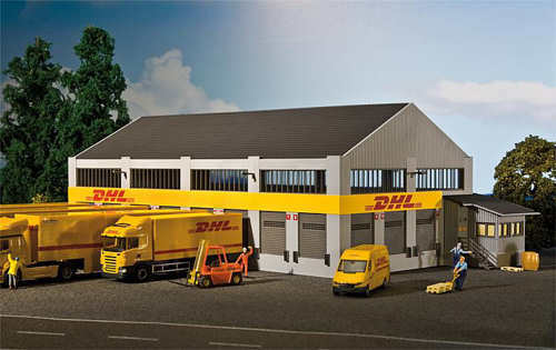 Faller 130981 - DHL Logistic Centre Plastic Kit H0 00 Gauge 1 87 Scale T48 Post