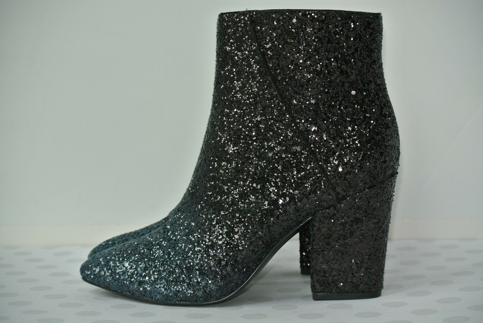 NEW Nine West Savitra Womens Sz 6.5 M Blue Black Sparkle Ankle Boots $119
