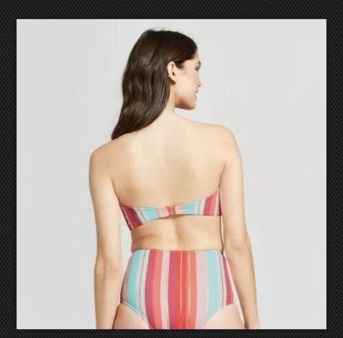 Shade /& Shore Light Lift Bandeau Bikini Top /& HIgh Waist Bottoms Stripe #s1
