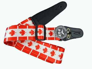 Canadian-Flag-Maple-Leaf-Acoustic-Electric-Guitar-Strap-With-Faux-Leather-Canada