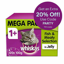 Whiskas 1+ Adult Wet Cat Food Pouches Fish & Meaty in Jelly 120x100g Pouches
