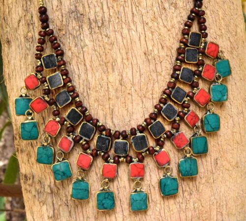 Multicolor Afghan Kuchi Bib Tribal Necklace Cassidy Ethnic Jewelry Bohemian Boho
