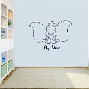 Personnalise-Dumbo-Elephant-Wall-Art-Decal-autocollant-Filles-Garcons-Nursery-Chambre
