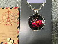 Silver Plated Aus Post Stamp Art Butterfly Pendant Necklace Australian Hand Made