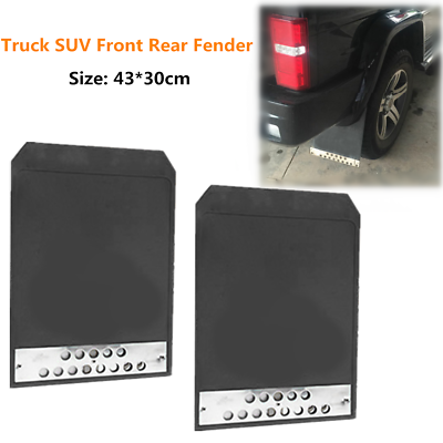 2PCS Front Rear Fender Mud Flaps Black for Car 43*30cm Basic Mounting Truck SUV