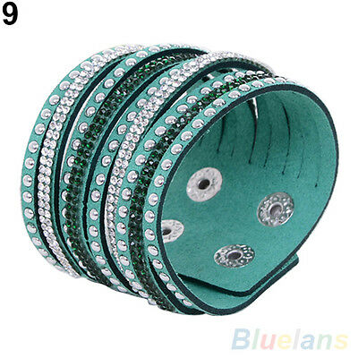 Chic Casual Women Multilayer Wrap Rivet Rhinestone Suede Cuff Wristband Bracelet