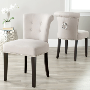 Set of 2 White Linen Dining Room Chairs Silver Ring Nailhead Modern ...