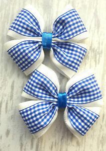"3/"" Handmade Pair of School Gingham Ribbon Hair Bow Clips or Bobbles"