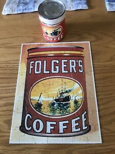 """Vintage FOLGER'S COFFEE 56 Piece Puzzle in Mini 3.5"""" Can"""
