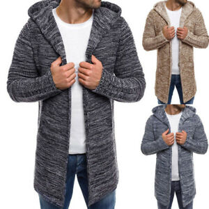 UK-Men-039-s-Hooded-Knitted-Sweater-Trench-Coat-Jacket-Cardigan-Long-Sleeve-Outwear