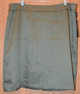 8df6e986ce549f Womens Green Tahari Arthur S Levine Flat Front Lined Skirt Size 18 ...