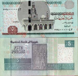 "Egypten /Ägypten 5 Pounds ""2017"" UNC ""Serial Number""0000043"""