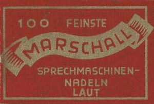 100-NEUE-Grammophonnadeln-034-Laut-034-im-original-Marshall-Tuetchen