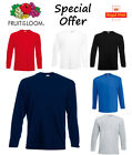 Fruit of the Loom LONG SLEEVE T Shirt Plain Tee Shirt Top Cotton Value Wholesale