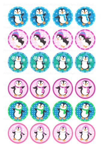 24 glaçages pour gâteau glaçage décoration ND1 mignon dessin animé coloré pingouins