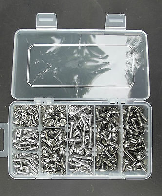 400 Assorted A2-70  Stainless Steel Flange Pozi Self Tapping Screws in a Box