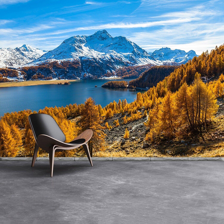 Vlies-Fototapete Fototapeten Tapete aus Vlies Poster Foto See Alpen
