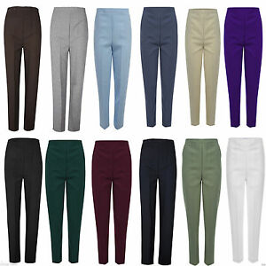 New-Ladies-Womens-Office-Work-Trousers-Half-Elasticated-Stretch-Waist-Pants