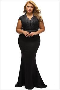 Mujer Tallas Grandes Formal Boda Coctel Noche Vestido Largo De Fiesta Baile De Gala Ebay