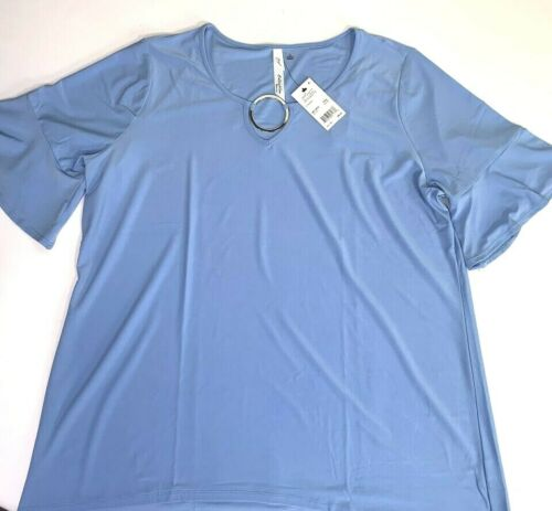NY Collection Women/'s Blue V-Neck Pullover Top Blouse Plus 1X NWT MSRP $49 A4906