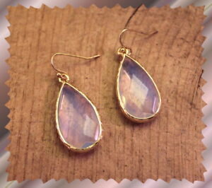 Smoky-Pink-Faceted-Glass-Gold-Wrapped-Pierced-Dangle-Hook-Iridescent-Earrings