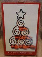 Wrought Iron Swirl Christmas Tree Votive Candle Holder Wall Decoration