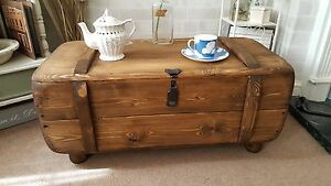 best loved 30ee4 db4a1 Details about Industrial Vintage Army Rustic Trunk Chest Coffee Table  Blanket box TVST