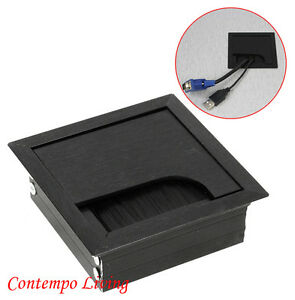 computer desk table tv cabinet 3 3 16 square wire cable grommet hole top cover ebay. Black Bedroom Furniture Sets. Home Design Ideas