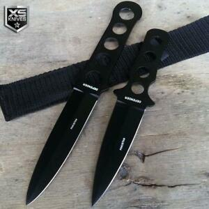 2pc SET Tactical NINJA Combat Naruto Kunai BLACK Throwing Knives w/ Sheath