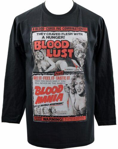 MENS LONG SLEEVE T-SHIRT TOP 1950s DOUBLE BILL B MOVIE BLOOD LUST /& MANIA HORROR