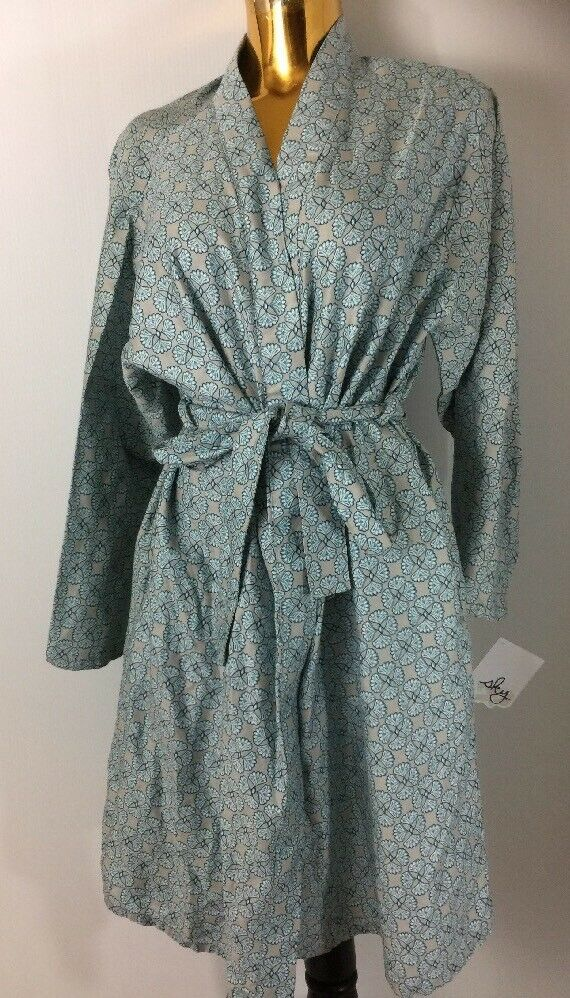 Sky Floral Printed By Bloomingdales Women  Cotton Robe One Size