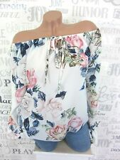 SOMMER Bluse Tunika Carmen Shirt Blumen Print off Shoulder 36 38 40 Weiß EF38