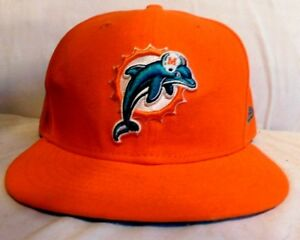 3d7065dcebcdc9 NFL Miami Dolphins Reebok Size 7 3/4 Fitted Hat Cap Orange   eBay
