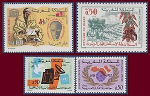 1970 Maroc N°608/609/610/611** Lot Tb, 1970 Morocco Mnh Art De La Broderie Traditionnelle Exquise