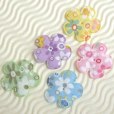 """US SELLER - 100 pcs x 1.25"""" Padded Floral Print Cotton Flower Appliques ST194"""