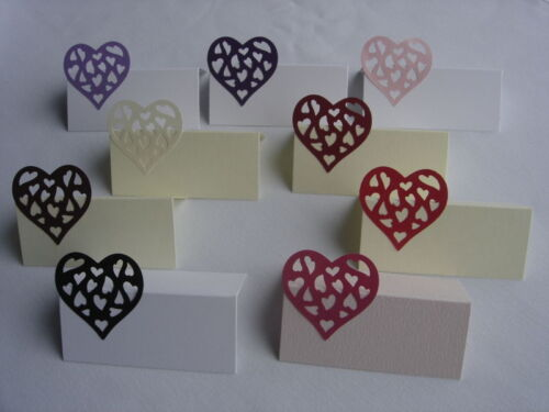 10 PEARLESCENT SHIMMER HEART WEDDING PLACE NAME CARDS SETTING LOTS OF COLOURS