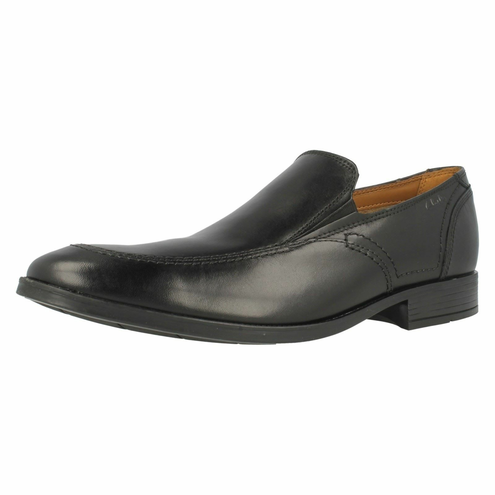 Mens Clarks Kalden Step Black Leather Smart Slip On shoes