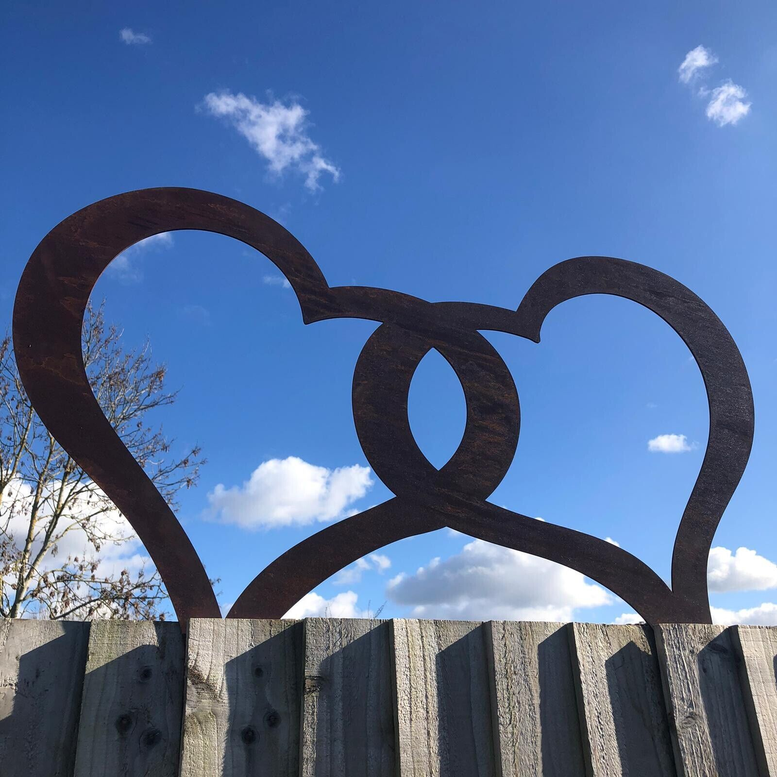 Garden joined hearts rusty metal ornament sign feature decoration family rustic