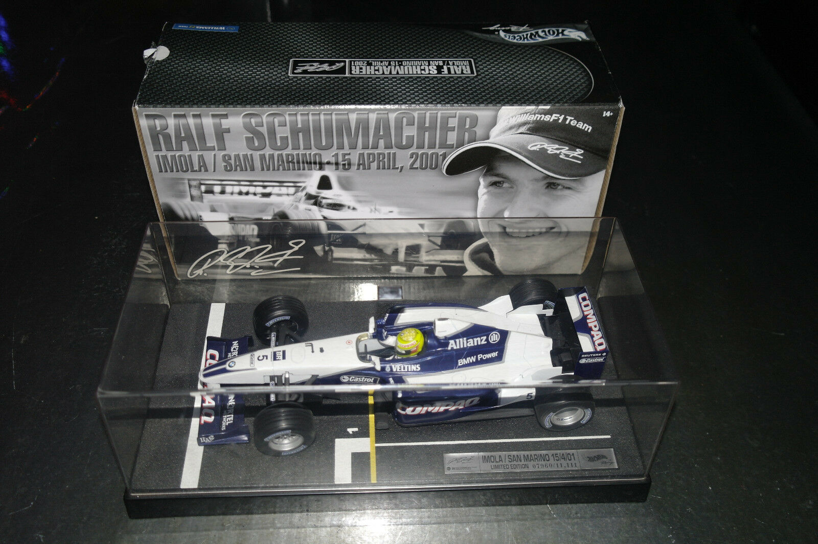 F1 WILLIAMS RALF SHCUMACHER IMOLA SAN MARINO 2001 HOT WHEELS + BOITE 1 18 NEUVE