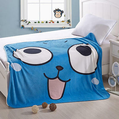 Anime Fairy Tale Happy Blue Soft Warm Coral Fleece Plush Throw Blanket #N94-G