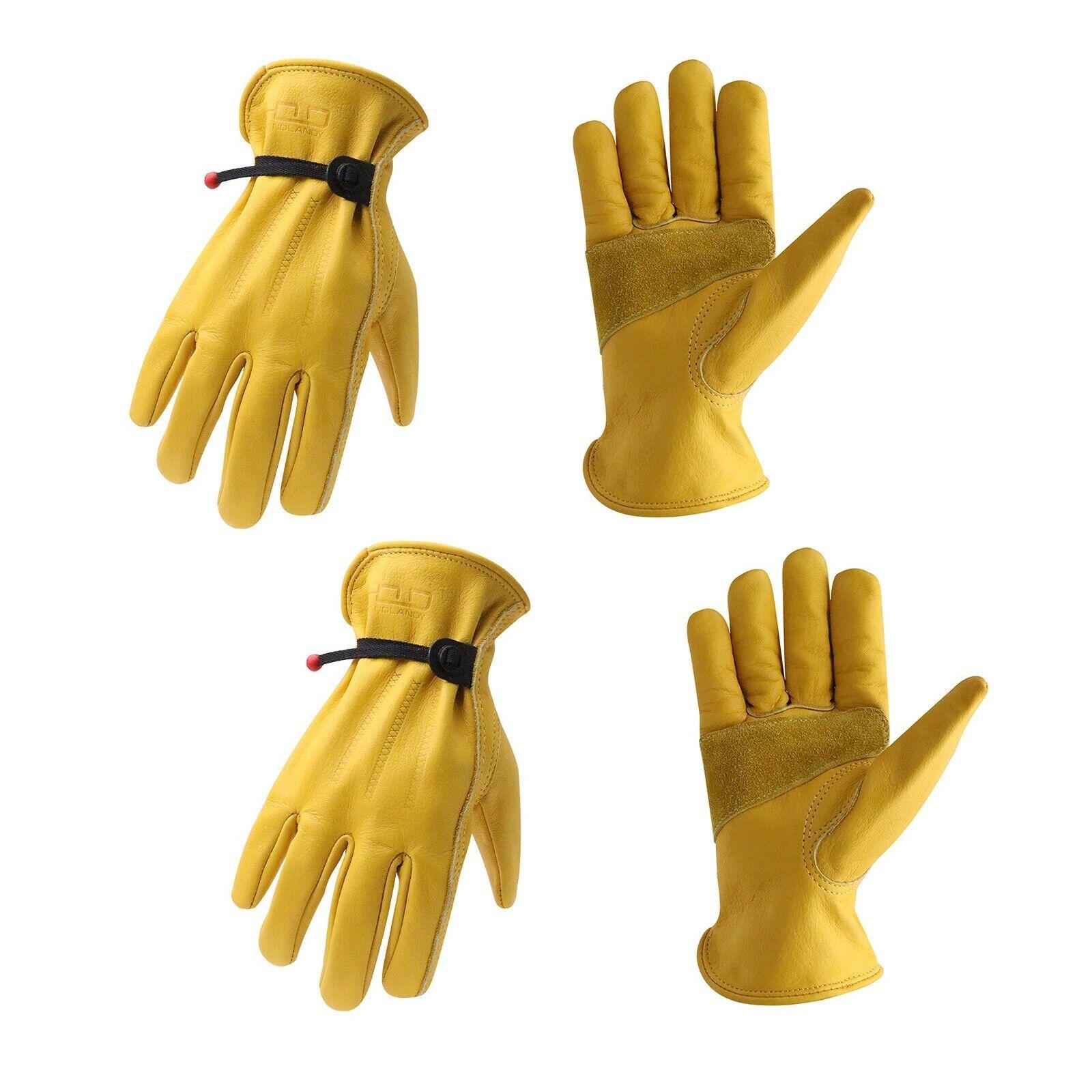 1/2/3 pares hombres mujeres cuero de vaca guantes de trabajo Guantes de Seguridad Guante De Jardinería