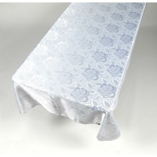"""Carnation Home /""""Rose Damask/"""" 60/""""x108/"""" Fabric Tablecloth in White"""