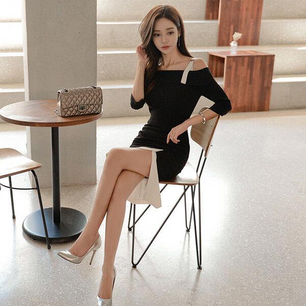 Elegante vestito abito abito abito corto tubino nero bianco  lungo slim morbido 4722 9c6d1d