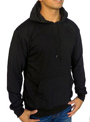 XXL Sweat Gym Sport Band Work Man Mens Plain Blank Black Basic Hoodie Jumper M