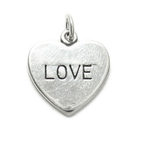 """925 Sterling Silver Simple /""""Love/"""" in Plain Heart Charm"""