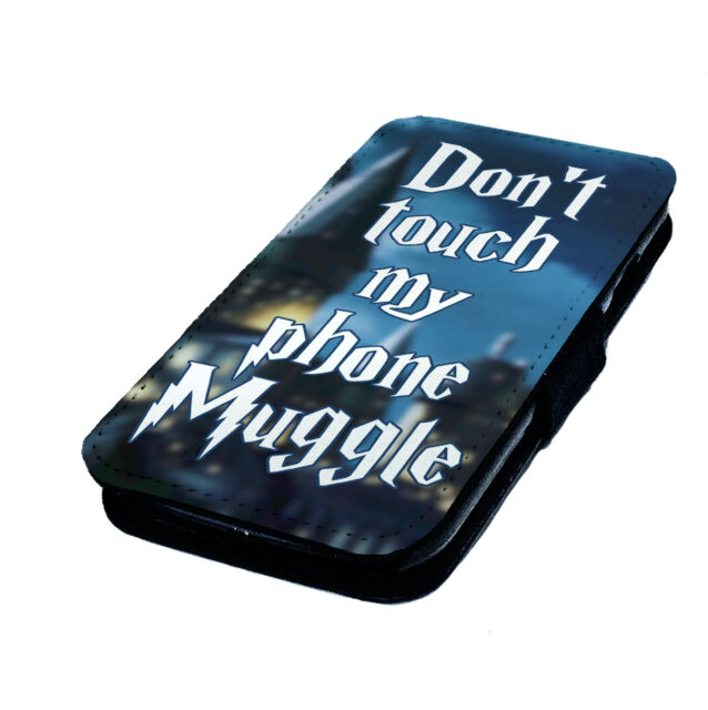 Don't Touch My Phone, Muggle - Printed Faux Leather Flip Phone Cover Case