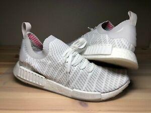 a89a2517eeddc Adidas NMD R1 STLT PK Primeknit White Grey Pink Size 12.5 (CQ2390 ...