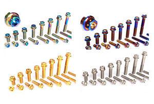 2pcs Titanium M8 15//20//25//30//35//40//45//50mm Moto Flange Drilled Screws Bolts