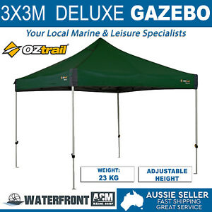 OZtrail-Deluxe-Gazebo-Green-Canopy-Marquee-Tent-Outdoor-Party-Folding-Shade-Camp
